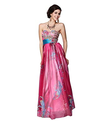 Womens Dainty Strapless Foral Print & Embroidered Long Formal Prom Evening Dresses Gown-XXXXL 18UK