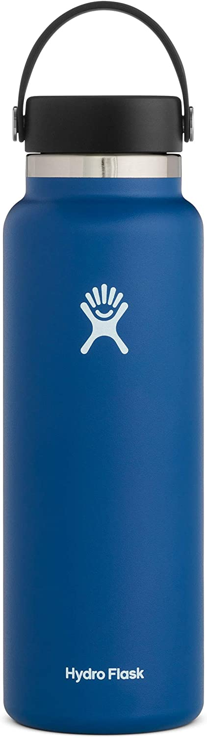 Hydro Flask Water Bottle - Stainless Steel & Vacuum Insulated - Wide Mouth 2.0 with Leak Proof Flex Cap - 40 oz, Cobalt