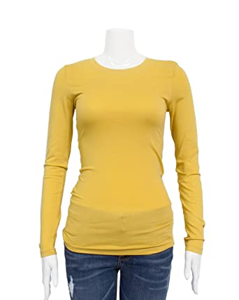 3d4e221ad146d FineBrandShop Mustard Yellow Ladies Crew Neck Long Sleeve T-Shirt   Amazon.co.uk  Clothing