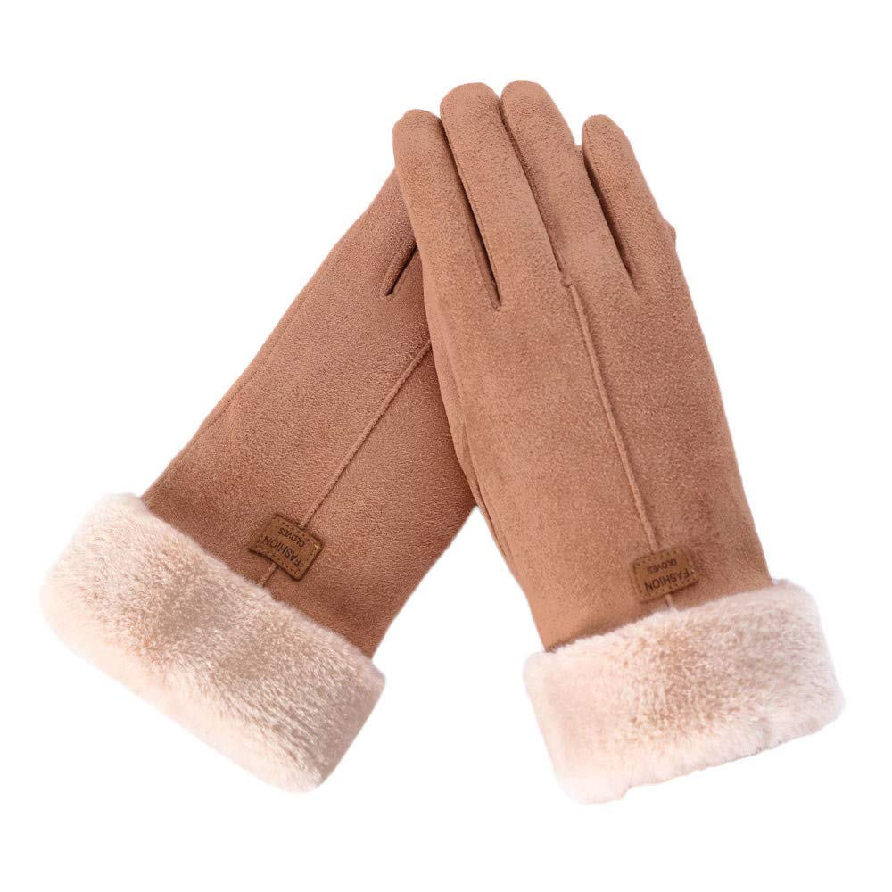 Alixyz Women's Winter Warmer Sports Outdoor Cycling Windproof Texting Gloves Touch Screen Gloves (Khaki)