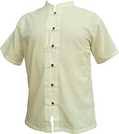 PANASIAM Camisa de la Marca, Modelo Fisherman. 3 Colores, 4 Tallas: M, L, XL, XXL y XXXL. 100% algodón Natural. Fina, con Botones de Madera