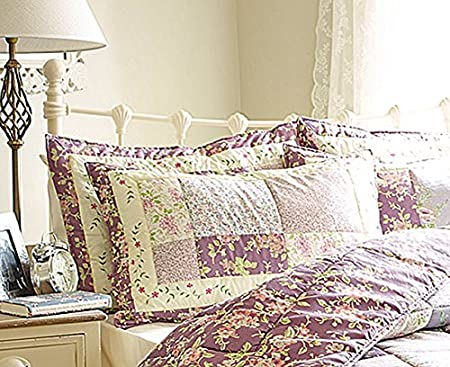 Summer Weight Diana Cowpe Single Lavender Patchwork Bedset Tog Rating 1.5 TOG 1 x Throw 180 x 260cm /& 1 x Matching Pillow sham 48cm x 74cm
