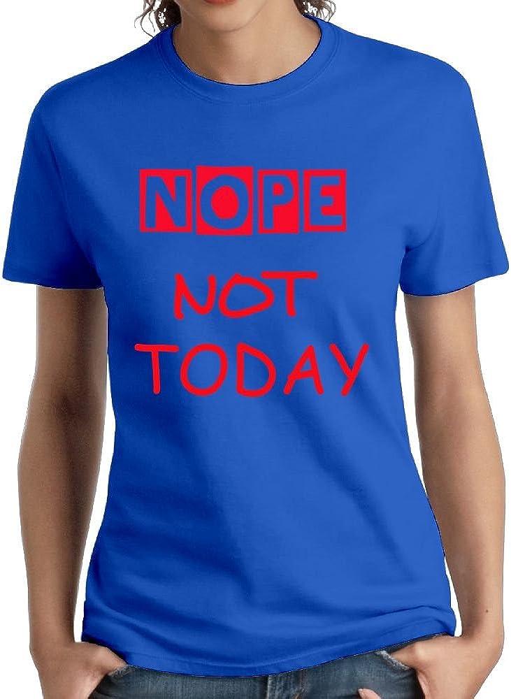 QIUHUAXIANG Women Cotton 3d Digital T-Shirts Creative Nope Not Today Crew Neck Shirts DeepHeather Large