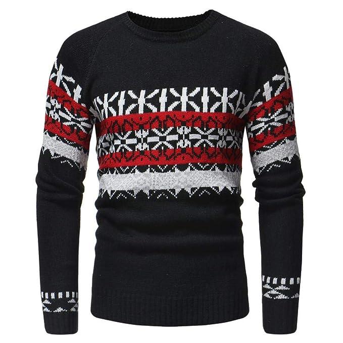 084421fa1 NRUTUP Men s Fashion Printed Knit Sweaters Autumn Winter Casual ...