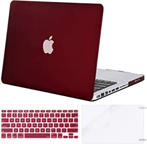 MOSISO Plastic Hard Shell Case & Keyboard Cover & Screen Protector Only Compatible with Old Version MacBook Pro 13 inch (A1278, with CD-ROM), Release Early 2012/2011/2010/2009/2008, Marsala Red