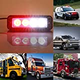 Auto Led Light,Gledto 4 LEDs 4W Law Enforcement Waterproof Emergency Hazard Warning Flashing Car SUV Truck Vehicle Construction LED Top Roof Mini Bar Strobe Light (Red and White)