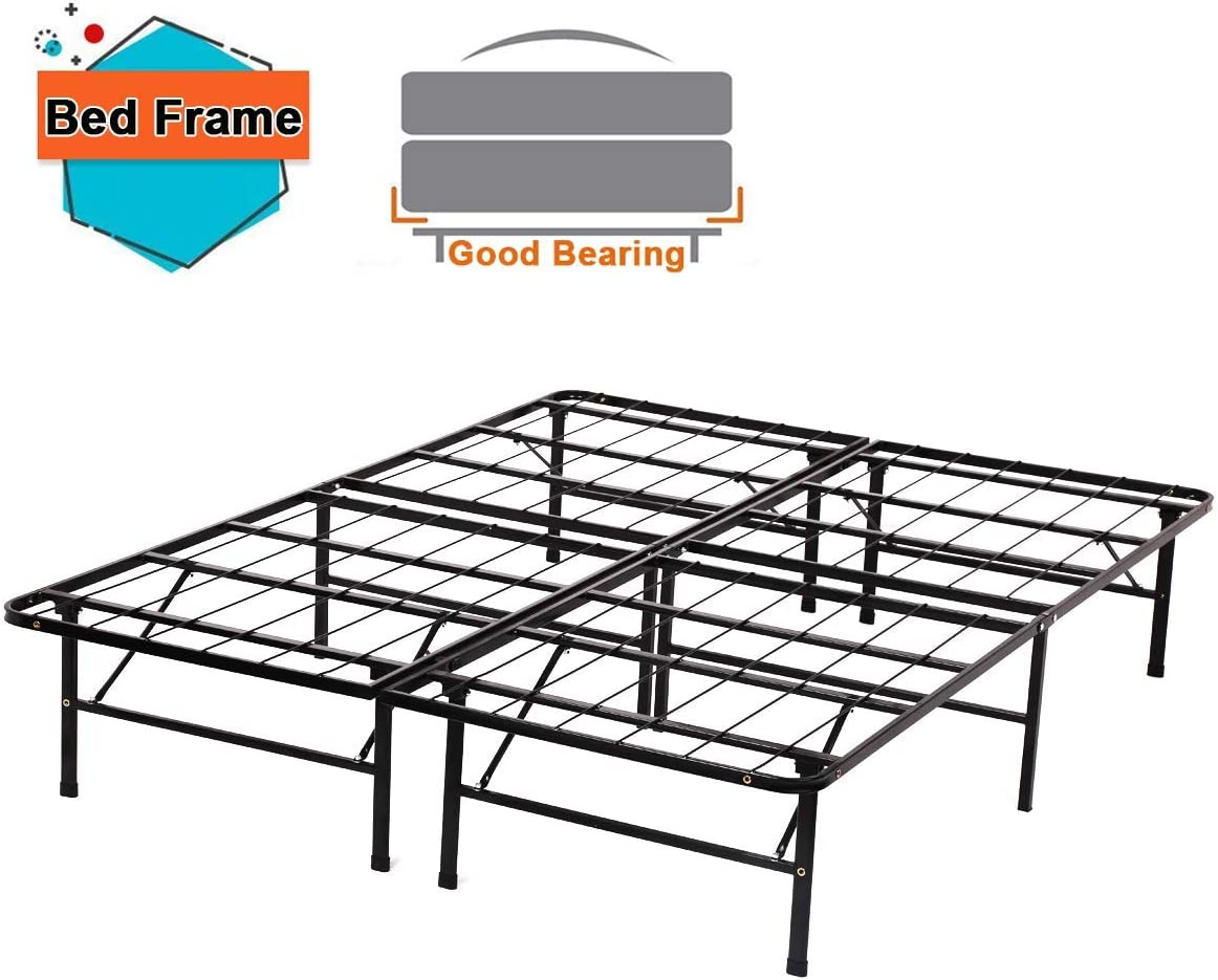 Full Bed Frame Metal Platform Bed Frame Full Size 14 Inch Mattress Foundation Box Spring Replacement Noise-Free Easy Assembly Heavy Duty Steel Slat,Black