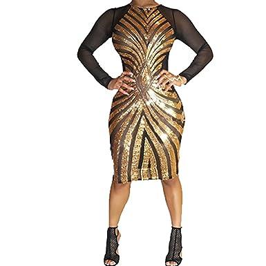 Amazon Pinda Sexy Gold Plus Size Bodycon Dress Women Sequin