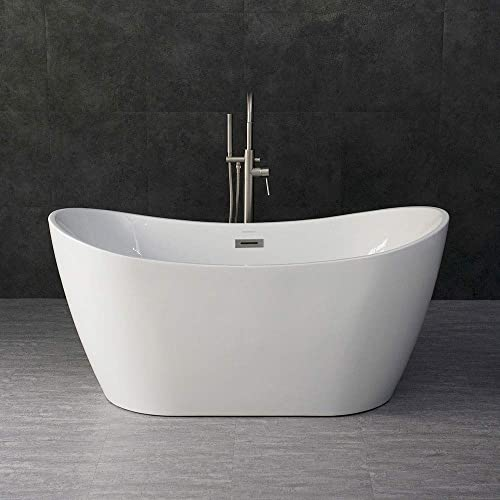 WOODBRIDGE 59 Acrylic Freestanding Bathtub Contemporary Soaking Tub with Brushed Nickel Overflow and Drain, B-0016 BTA1516