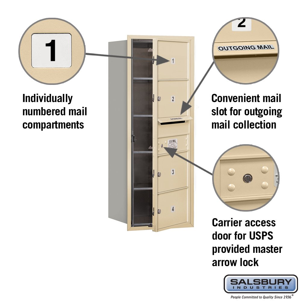 Sandstone Salsbury Industries 3710S-04SFU 4C Horizontal Mailbox
