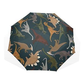 EZIOLY - Paraguas de Viaje con diseño de Dinosaurios Oscuros, Ligero, Anti Rayos UV