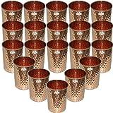Set Of 20 - Prisha India Craft  Copper Cup Water Tumbler - Handmade Water Glasses - Traveler's Copper Mug For Ayurveda Benefits - Christmas Gift Item