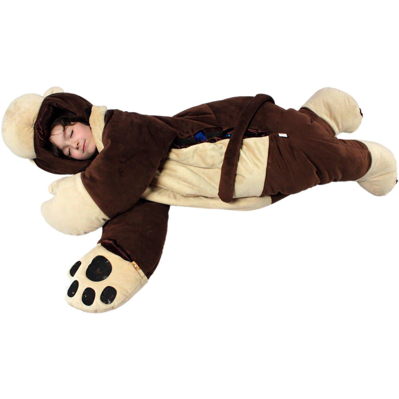 L&M Kids Brown Snuggle Monkey Shaped Sleeping Bag, Ape Shape Creature Character Giant Stuffed Animal Sleep Sack Blanket, Beige Black Light Travel Bed Roll