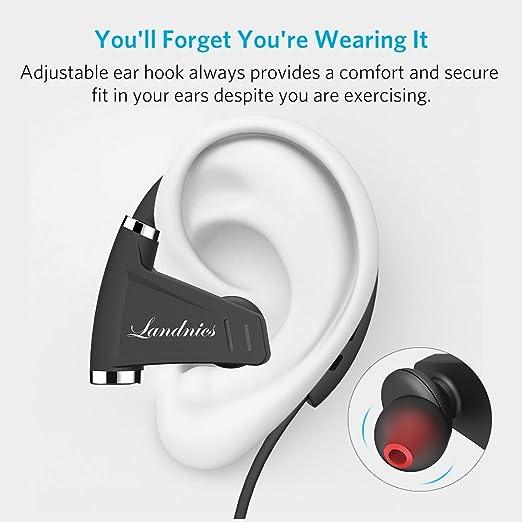 Auricolari Wireless Bluetooth Cuffie Landnics Cuffie In-Ear Stereo Sportive  Impermeabile IPX7 Tempo di Riproduzione 12 ore per Bici ed esercizi  Palestra  ... c96d5f9b4e95