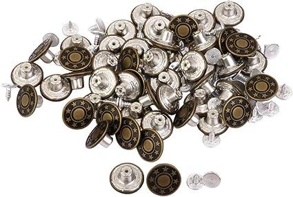bricolage Craft diam/ètre de 10 mm veste et jeans Salopette 50 Ensembles Bouton en m/étal argent/é Kit boutons /à pression utilis/é pour les embarcations en cuir