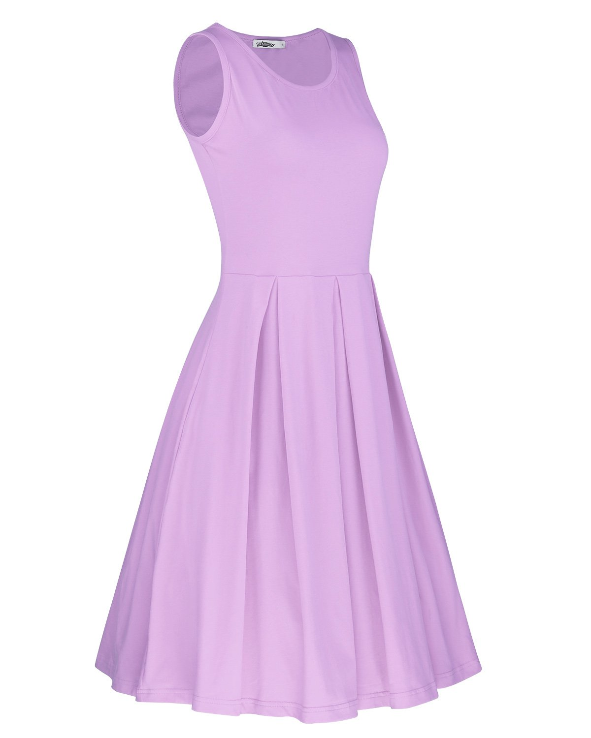 STYLEWORD Women's Sleeveless Casual Cotton Flare Dress(Lavender,L) by STYLEWORD (Image #2)