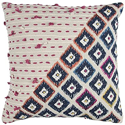 "Rizzy Home T12935 Decorative Poly Filled Throw Pillow 20"" x 20"" Pink/Multi - Pillow with removable cover for easy cleaning Unique accent piece Includes 1 pillow - living-room-soft-furnishings, living-room, decorative-pillows - 61WQMHqwP5L. SS400  -"