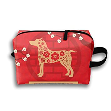 floral chinese new year background with dog makeup pouch with top handle for men and women