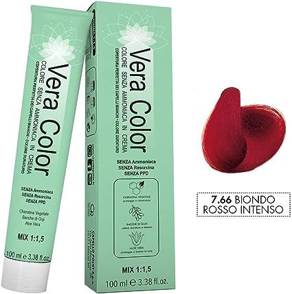 Vera Color - Coloración Permanente en Crema, Tinte Sin Amoníaco con Queratina Vegetal, Aloe Vera y Bayas de Goji - Cobertura Total de las Canas - ...