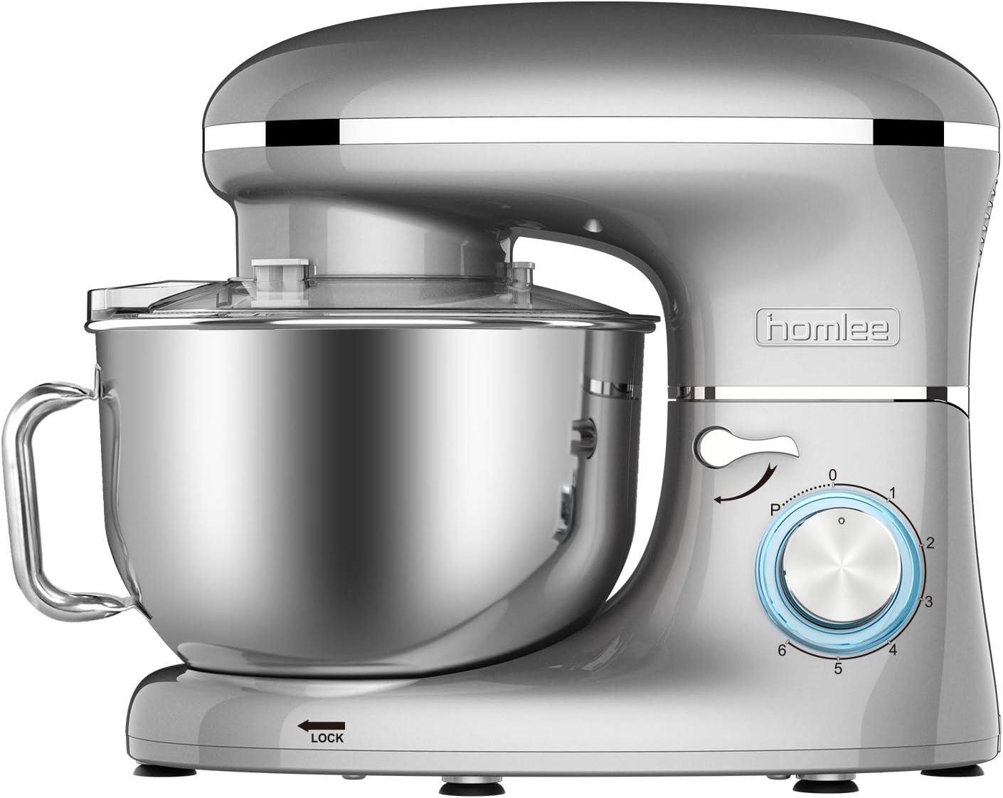 homlee 1500W Batidora Amasadora, Amasadora de Pan Bajo Ruido,Robot de Cocina Multifuncional,6 Velocidades,5.5L,Gris