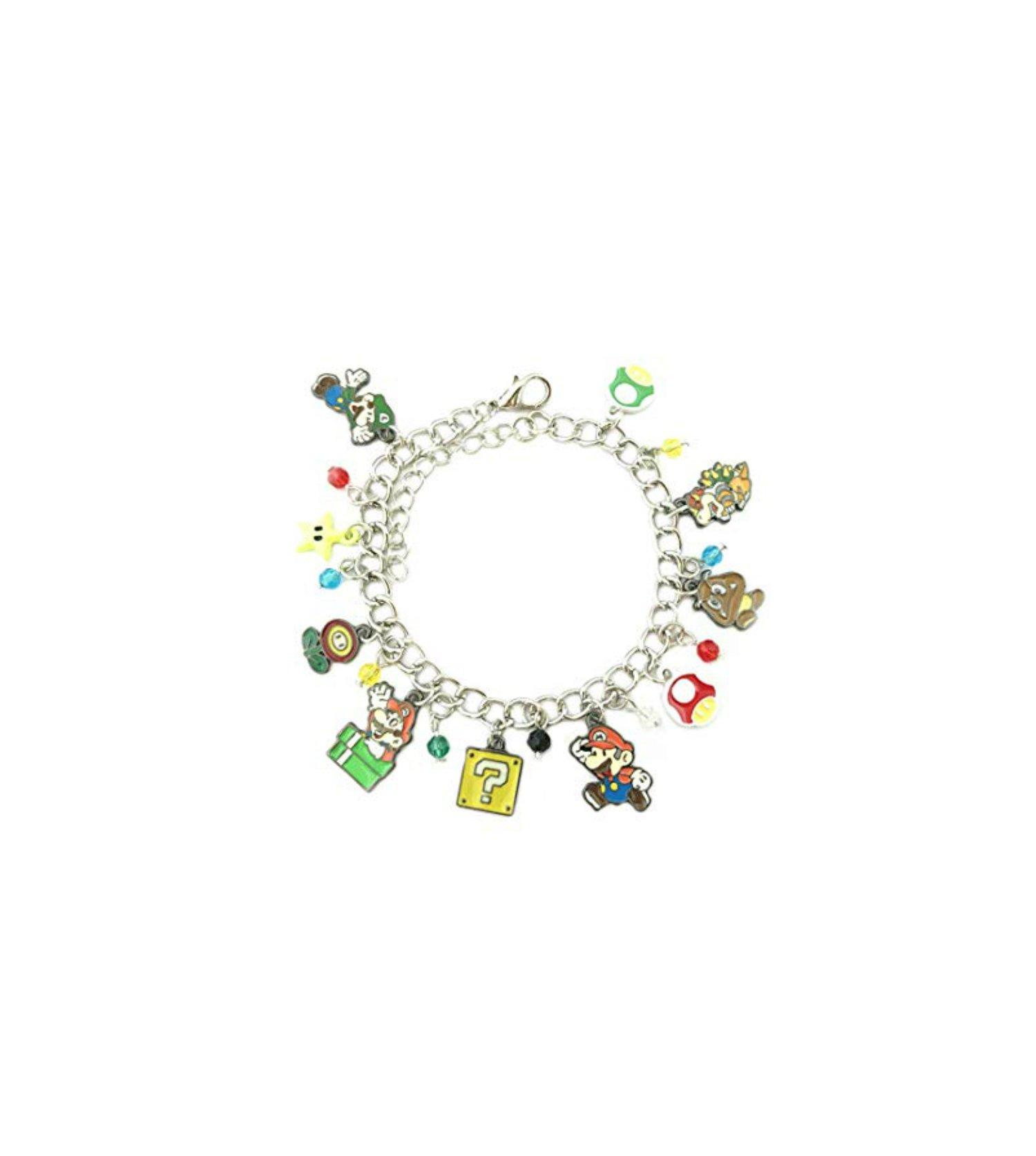 Athena Brand Mario Brothers Video Game Series Superhero Theme Logo Charm Jewelry Bracelet w/Gift Box by