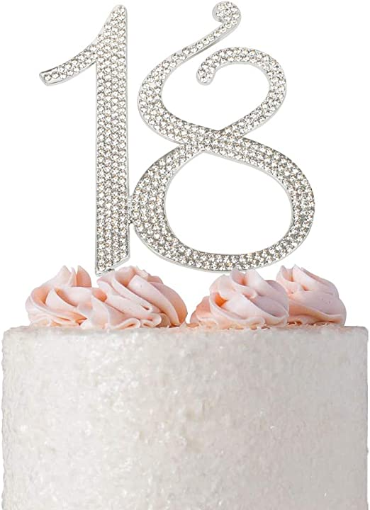 SILVER NUMBER 1 CAKE PICK TOPPER DECORATION 1st DIAMANTE SPARKLY