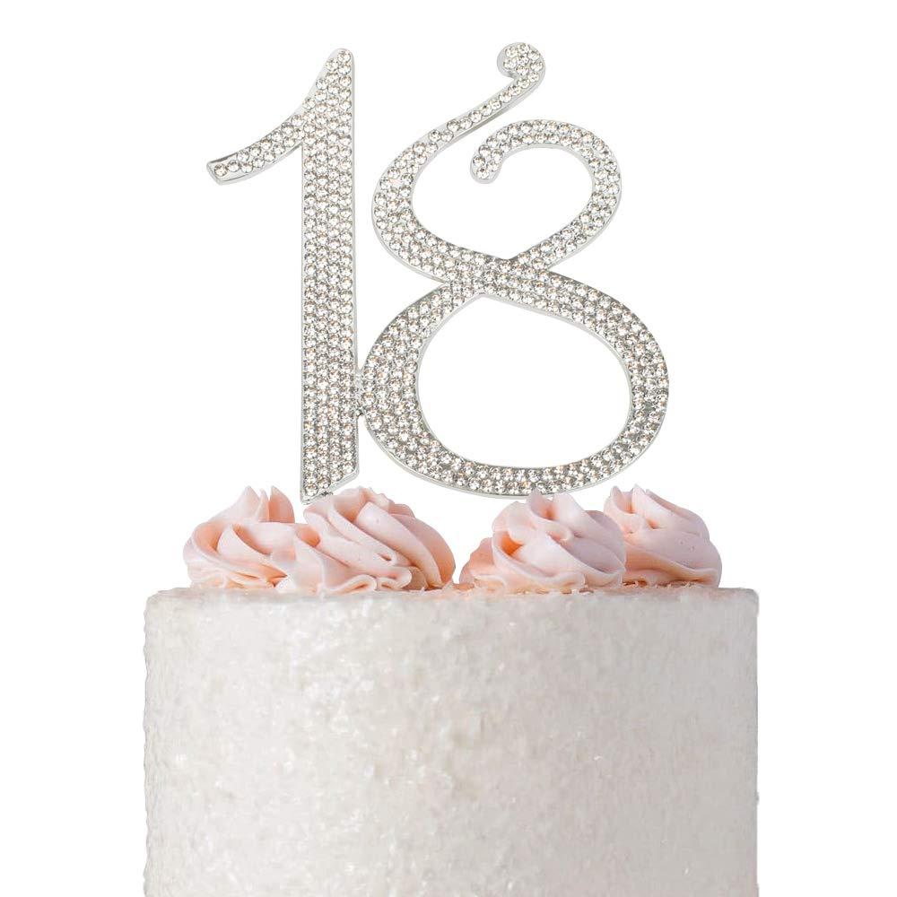 18 Birthday Cake Topper   Premium Sparkly Crystal Rhinestone Bling Diamond Gems   18th Birthday Party Decoration Ideas   Quality Metal Alloy   Perfect Keepsake (18 Silver)