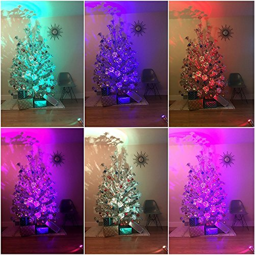 TreeTronics Color Wheel 2.0 – For Vintage Aluminum Christmas Tree - Mid Century Modern – Artificial Retro, MCM XMAS (Silver) (Stand Reviews Tree Christmas Rotating)