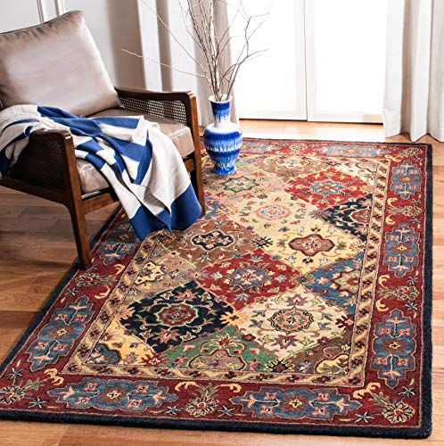 Safavieh Heritage Collection HG926A Handcrafted Traditional Oriental Red and Multi Wool Area Rug (9' x 12') (Wool Oriental Rugs)
