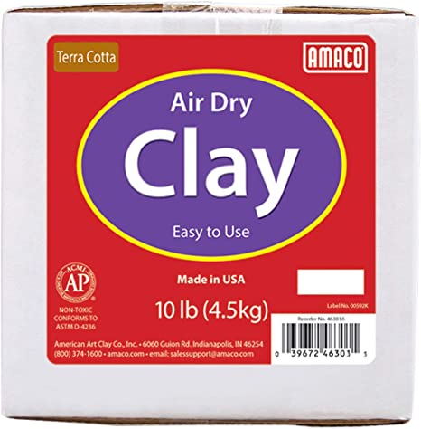 Amaco 4630-1A Air Dry Modeling Clay Terra Cotta 10-Pound
