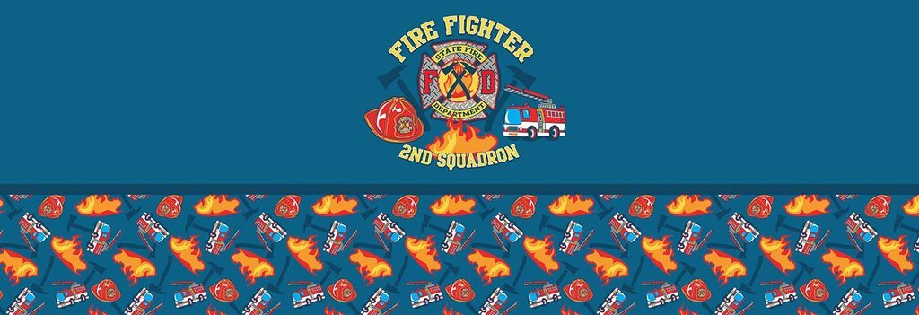 Firefighter Blue Boy Bed Runner Scarf Twin/Full/Queen/King Size