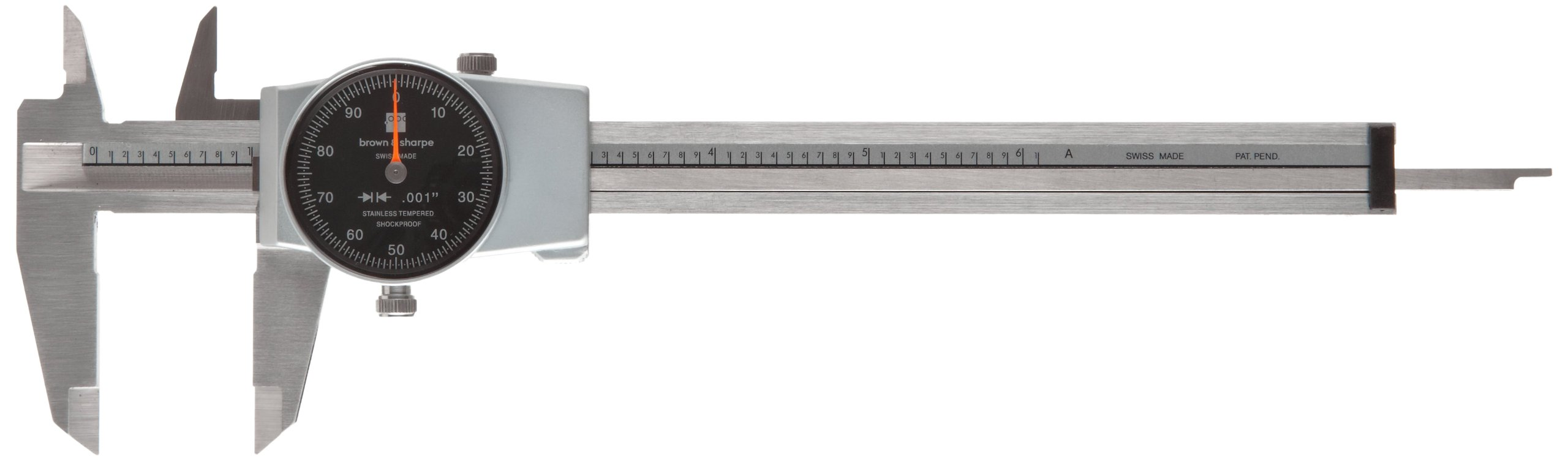 Brown & Sharpe 599-579-5 Dial Caliper, Stainless Steel, Black Face, 0-6'' Range, +/-0.001'' Accuracy, 0.001'' Resolution, Meets DIN 862 Specifications