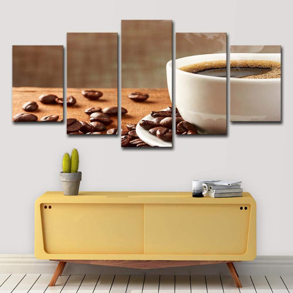 ChuangYing Cocina Restaurante Pared Pegatinas 5 Obras de Granos de café y Tazas de café Pintura Pegatinas de decoración del hogar: Amazon.es: Jardín