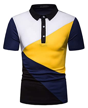 39585a94 FRTCV Men Long Sleeve Polos Casual Cotton Rugby Golf Shirts