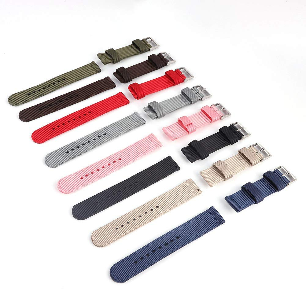 Bornbayb Solid Color Premium Nylon Nato Watch Straps Canvas Fabric Watch Band (Width: 18mm, 20mm, 22mm, 24mm) by Bornbayb (Image #7)