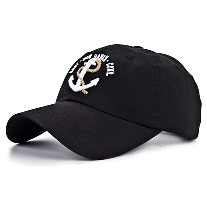 Cotton Gorras Anchor Baseball Cap Vintage Casual Hat Adjustable Baseball Caps New for Adult B334 Black