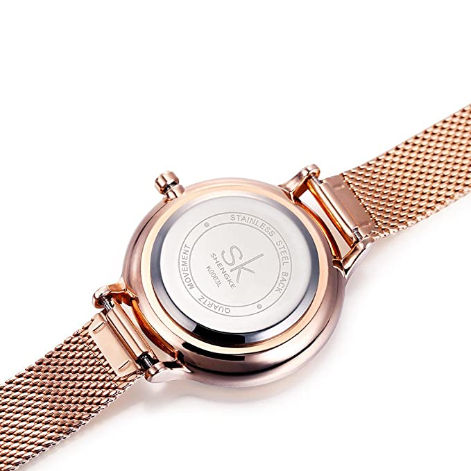 Amazon.com: SHENGKE K0063L Rose Gold Watches Starry Sky Womens Watches with Stainless Steel Mesh Strap: Watches