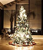 8 FT CLASSIC EVERGREEN HOLIDAY ARTIFICIAL GREEN PRE LIT LED LIGHT UP BULBS MIXED PE/PVC TIPS WITH DECOR PINE NUTS EIGHTS FEET PRELIT CHRISTMAS TREE