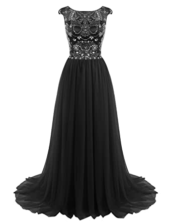 ALAGIRLS Long Prom Dress Beaded Tulle Evening Dress Cap Sleeves at ...
