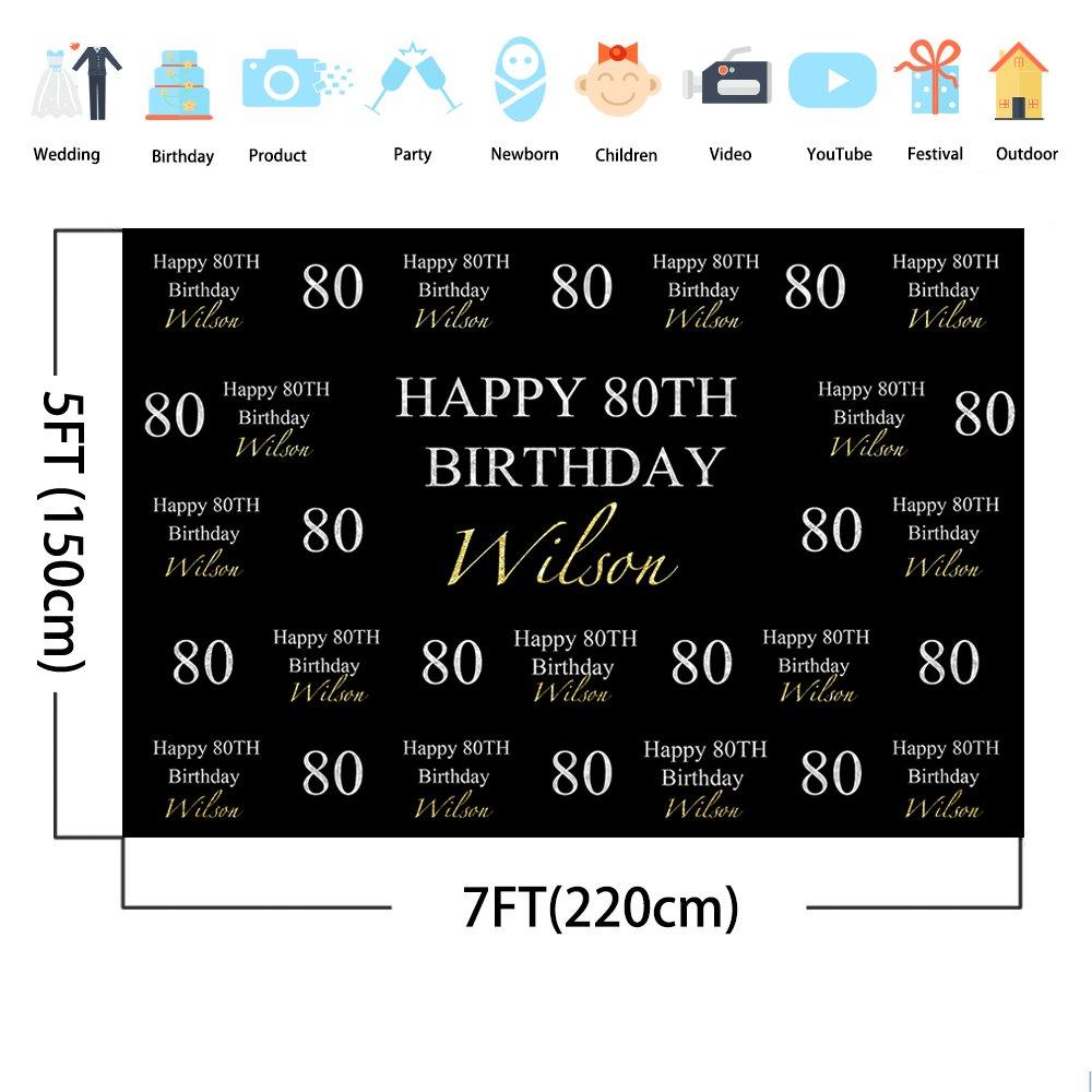 Amazon Mehofoto Happy 80th Birthday Backdrop Black Pattern