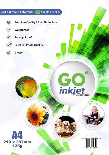 100 hojas A4 autoadhesivo Papel fotográfico brillante: blanco brillante papel fotográfico, impermeable, compatible con inyección de tinta y Photo ...