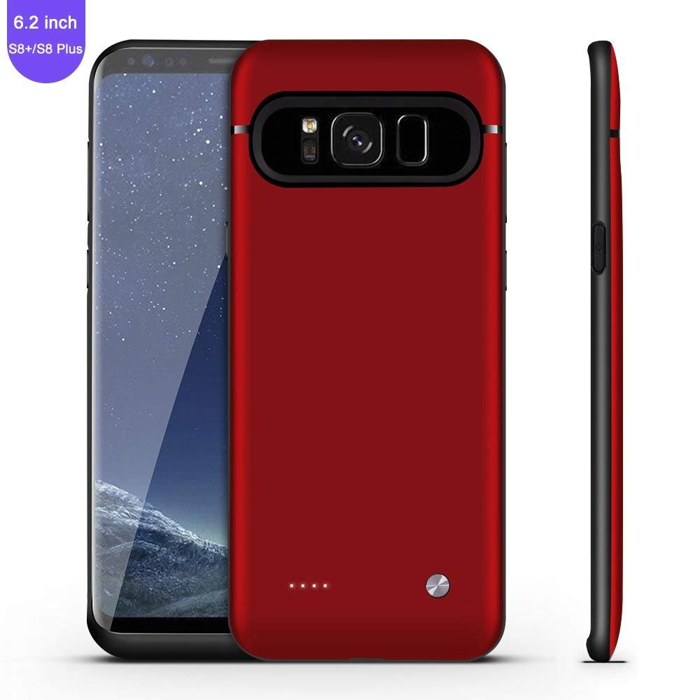 Galaxy S8 Plus Battery Case,FIDEA 5000mAh Rechargeable Slim External Battery Case,With Rechargeable External Battery,Portable Charger Juice Pack Power Bank Cover for Samsung Galaxy S8 Plus(Red Rose)