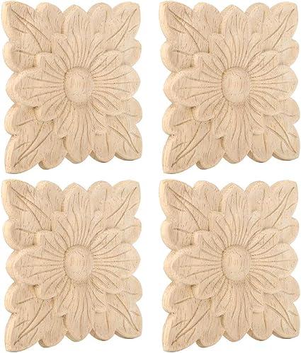 Fdit1 4 Pezzi Bellissimo Modello di Fiore in Gomma Intagliato in Legno Applique Decorazione mobili Fai da Te Accessori per Porte da Giardino Vintage Eleganti