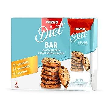 Prozis 3 x Diet Bar 35 g Masa para Galletas con Trozos de Chocolate