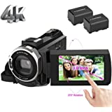 ビデオカメラ 4k デジタルビデオカメラ 48MP WIFI機能 タッチパネル バッテリー*2 kenuo