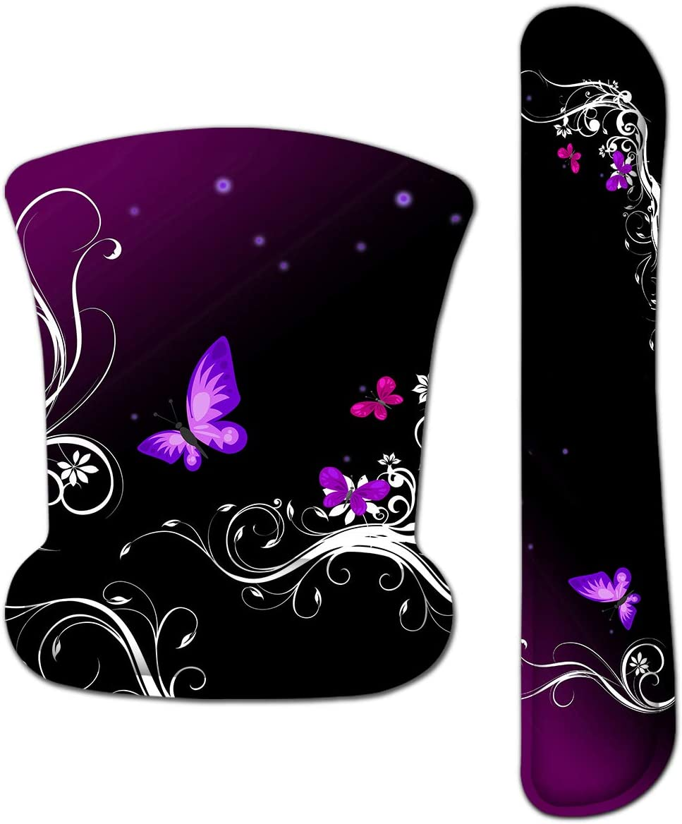 Mouse Pad with Wrist Support and Keyboard Wrist Rest Pad Set,Ergonomic Mouse Pads for Computers Laptop,Non-Slip Comfortable Mousepad w/Raised Memory Foam for Easy Typing Pain Relief (Purple Butterfly)