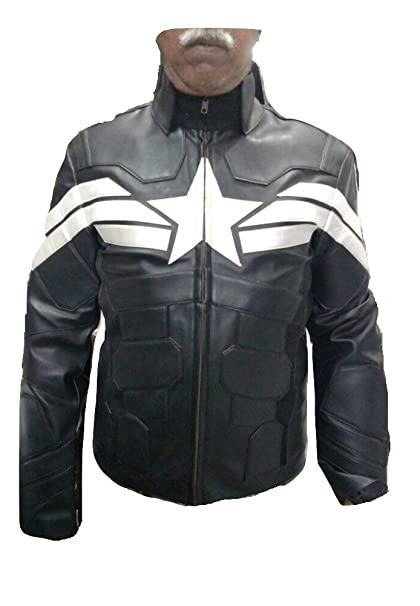 Bestzo Mens Captain Fashion Winter Soldier America Leather Jacket Black at Amazon Mens Clothing store: