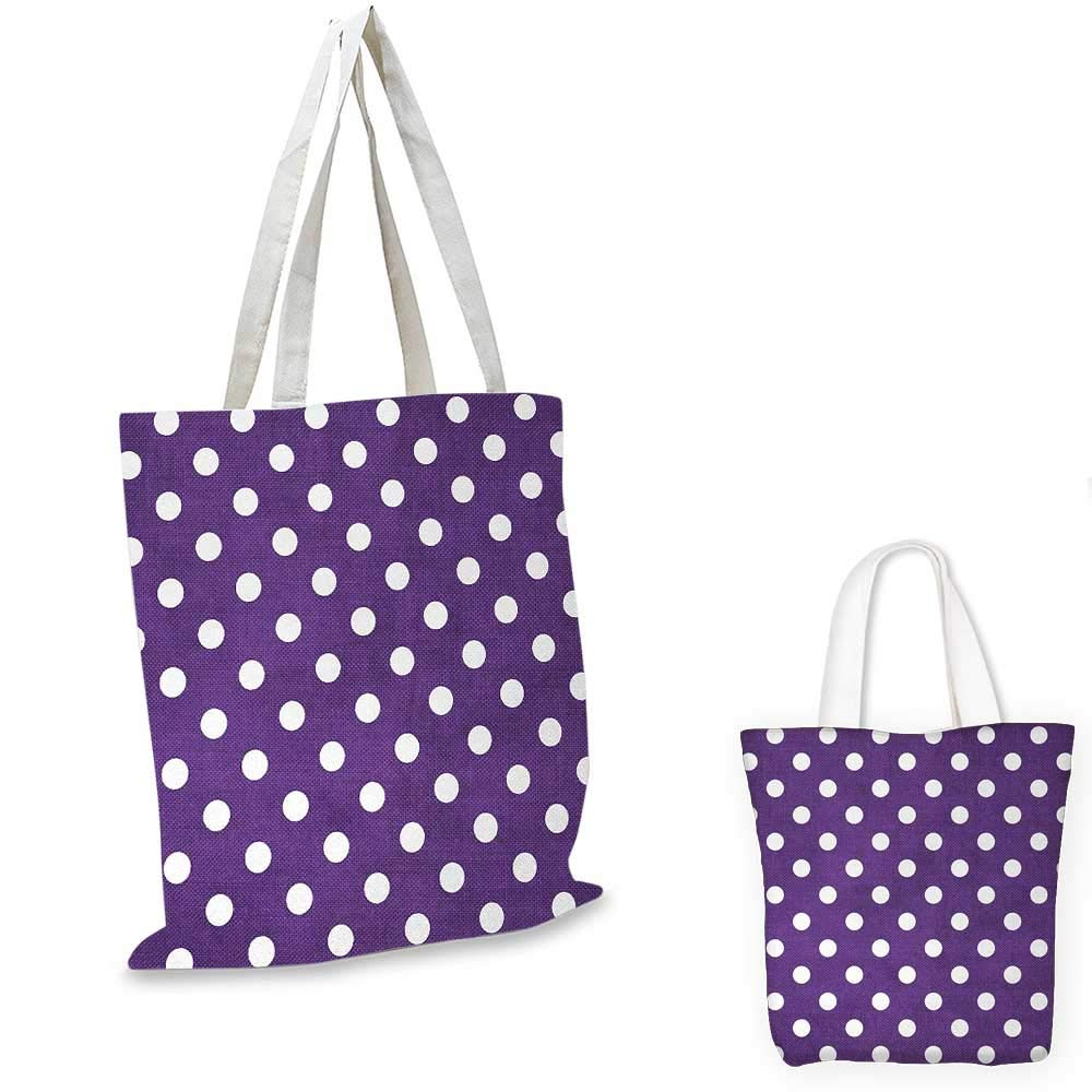Eggplant canvas messenger bag Polish White Orderly Polka Dots and Purple Background with Traditional Pattern canvas beach bag Purple White 16x18-13