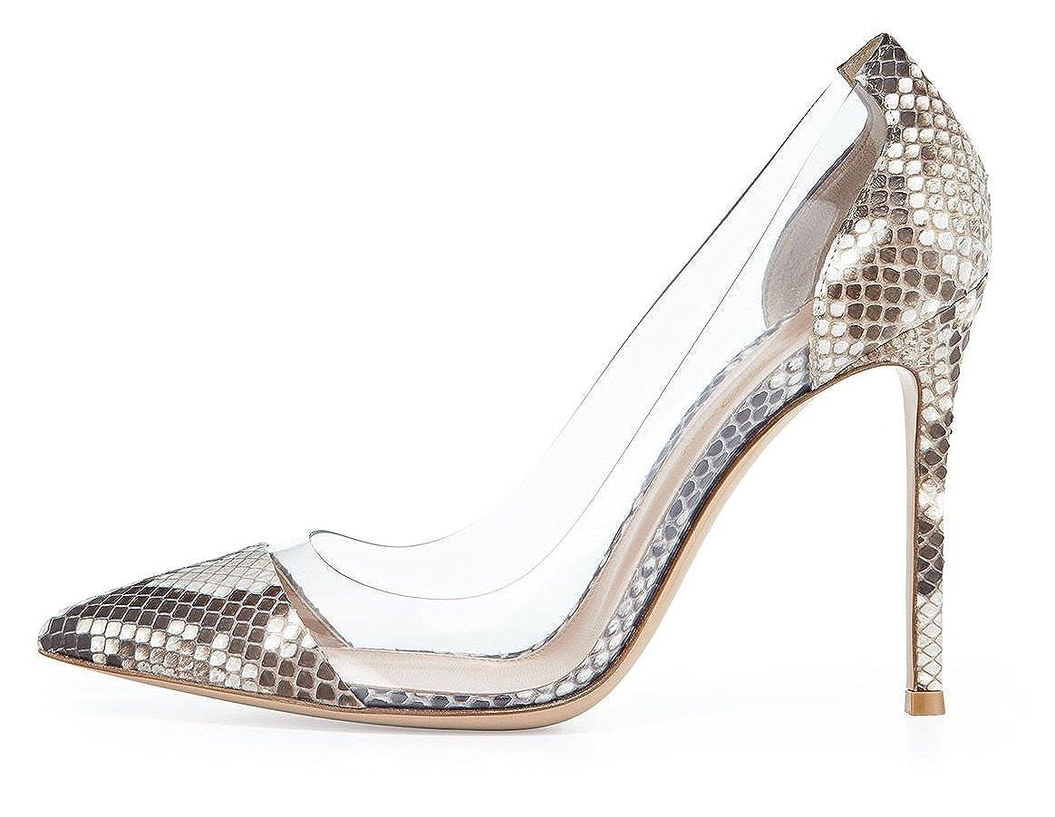 Elashe - Damenchuhe - High Heel Pumps - 10CM - Geschlossene Pumps - Zehenkappe Transparent Rutsch Stiletto - Hochzeit Schuhe