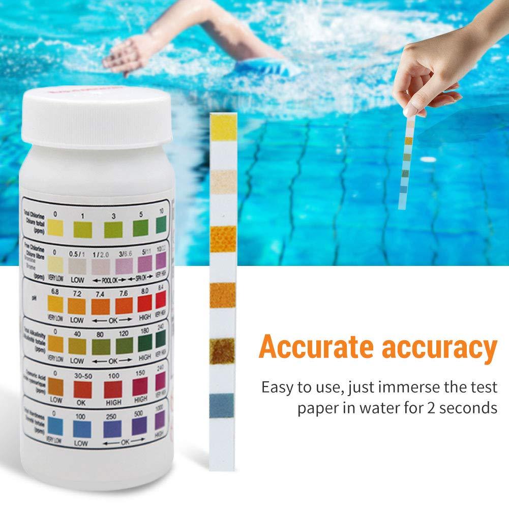 IsEasy 50 Piece Pool Test Strips 6 in 1 Swimming Pool Test Strips Chlorine//ph Value//Alkalinity Test Strips
